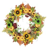 "24"" Autumn Mixed Leaf, Flowers, Pine Cones and Pumpkin Artificial Thanksgiving Wreath - Unlit - Orange"