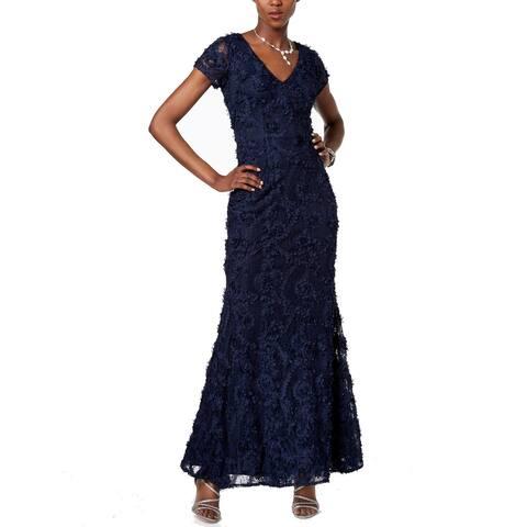 63da5352537 Xscape Blue Womens Size 4 V-Neck Lace Floral Applique Gown Dress