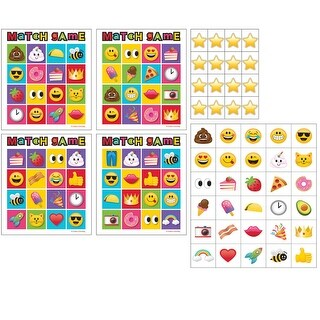 Pack of 6 Multicolored Show Your Emojis Smiley Theme Game Bingo 10 - multi