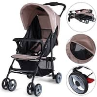 Costway Foldable Lightweight Baby Stroller Kids Travel Pushchair 5-Point Safety System - Coffee