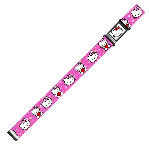 Hello Kitty Face Flowers & Hearts Full Color Pink Hello Kitty W Heart Magnetic Web Belt - S