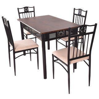 Costway 5 Piece Dining Set Wood Metal Table and 4 Chairs Kitchen Breakfast Furniture - as pic