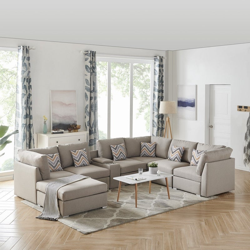 Amira Modular Sectional Sofa with USB Console, Ottoman and Beige Fabric