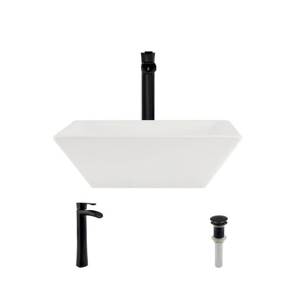 "Rene R2-5010-B-R9-7007 15-3/4"" Porcelain Vessel Bathroom Sink with Vessel Faucet and Vessel Pop-Up Drain"