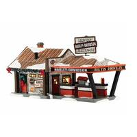 """Department 56 Snow Village """"Harley Big Tin Drive- In"""" Lighted Building #4042407"""
