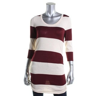 Pink Rose Womens Juniors Ruched Striped Tunic Sweater - M