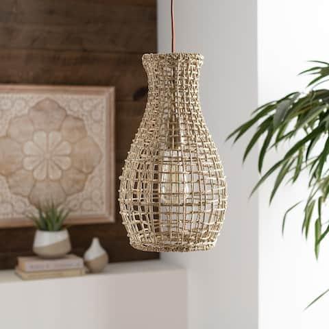 Minna Bohemian Domed Rattan 1-light Pendant