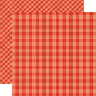 """Echo Park Summer Gingham Double-Sided Cardstock 12""""X12""""-Lifeguard Gingham"""