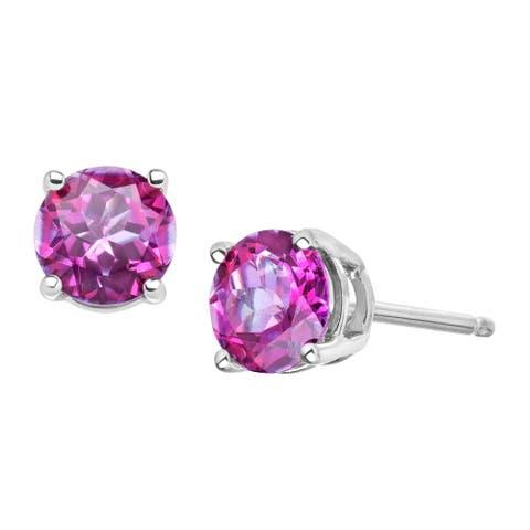 1 1/5 ct Rose Mystic Topaz Stud Earrings in 10K White Gold - Pink