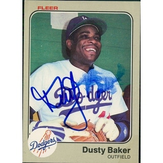 Signed Baker Dusty Los Angeles Dodgers 1983 Fleer Baseball Card Smudged Signature autographed