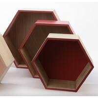 "Set of 3 Basic Luxury Hexagonal Shadow Boxes with Rose Red Accents 11.5 - 15.5"" - Brown"