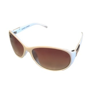 Ellen Tracy Womens Sunglass 507 4 White Modified Rectangle, Brown Gradient Lens