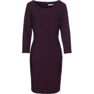 Calvin Klein Womens Pintuck 3/4 Sleeves Wear to Work Dress