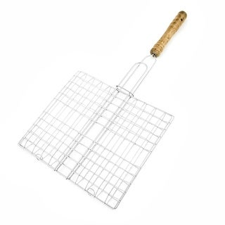 Unique Bargains Picnic Silver Tone Metal Multi Holes Grill Netting Mesh Barbecue Tool