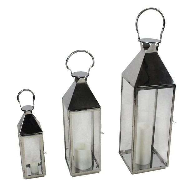 "Set of 3 Stainless Steel and Glass Pillar Candle Holder Lanterns 35"" - N/A"