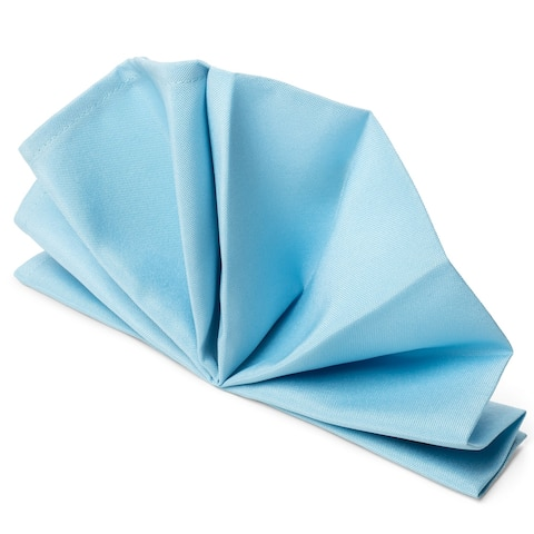 """12-Pack 20"""" Large Polyester Cloth Table Napkins - Baby Blue by Mill &"""