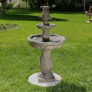 Sunnydaze Button Shell Pineapple 2 Tier Outdoor Water Fountain 40 Inch Tall