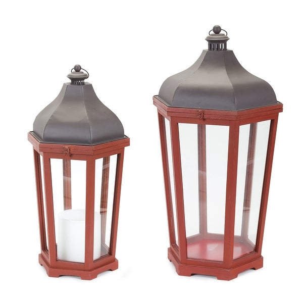 """Set of 2 Red and Black Lantern with Clear Glass 6.25"""" - N/A"""