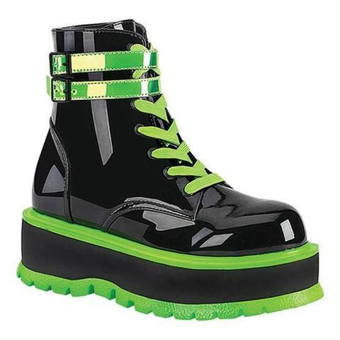 Demonia Women's Slacker 52 Platform Lace Up Ankle Boot Black Patent/UV Iridescent Green