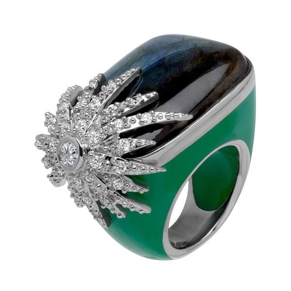 Cristina Sabatini Starburst Ring with Labradorite in Sterling Silver - Green