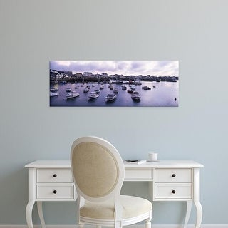 Easy Art Prints Panoramic Images's 'Boats in the sea, Quiberon, Morbihan, Brittany, France' Premium Canvas Art