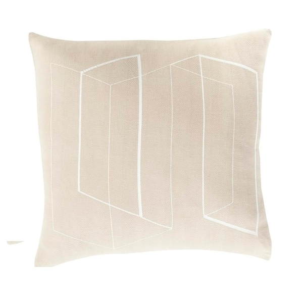 """22"""" Beige and White Geometric Patterned Square Throw Pillow"""