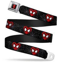 Marvel Comics Spider Man Full Color Spider Man Heart Face Web Black Gray Seatbelt Belt