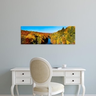 Easy Art Prints Panoramic Image 'Trees in autumn, Dead River, Marquette County, Upper Peninsula, Michigan' Canvas Art