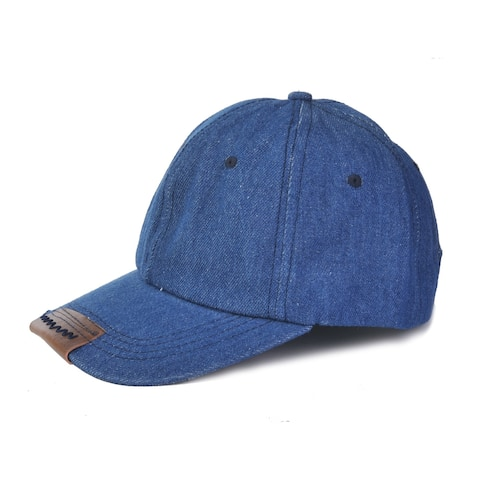 Top Headwear Leather Peak Trim Denim Baseball Cap