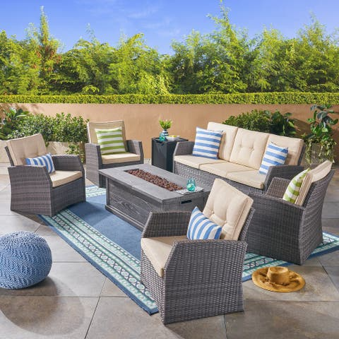 Sanger Outdoor 7 Seater Wicker Chat Set with Wood Finished Fire Pit by Christopher Knight Home