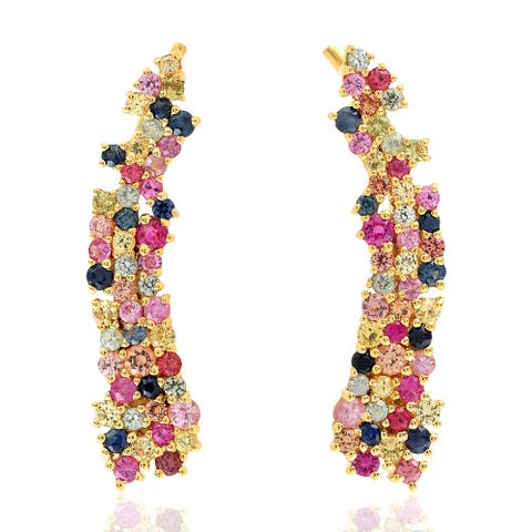 Sapphire Ear Climber Earrings 18k Yellow Gold Jewelry