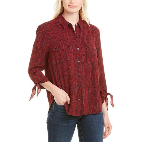 Jones New York Tie-Sleeve Button-Down Blouse