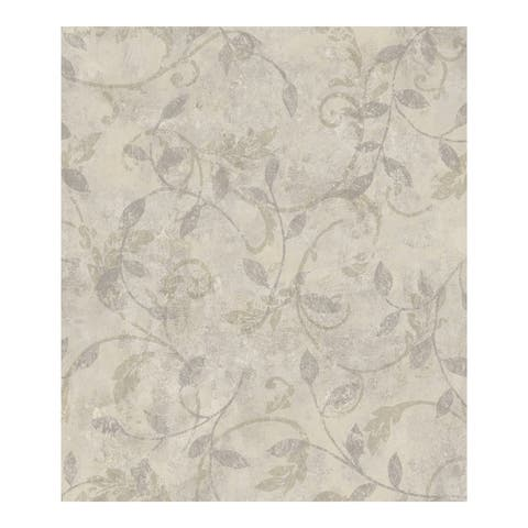 Villa Cream Scroll Botanical Wallpaper - 396in x 20.5in x 0.25in