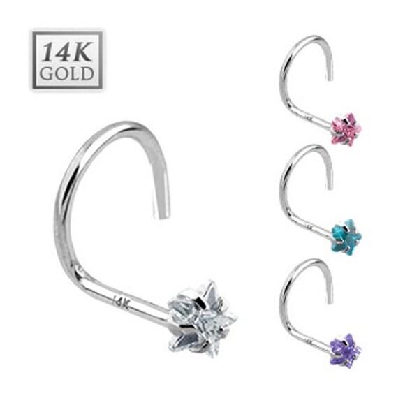 14 Karat Solid White Gold Prong Star CZ Nose Stud Ring - 20 GA (Sold Ind.)