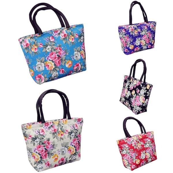 FT Rose Flower Women Canvas Big Capacity Shopping Handbag Tote Shoulder Bag Cre