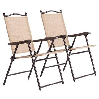 Costway Set of 2 Patio Folding Sling Back Chairs Camping Deck Garden Beach Yellow