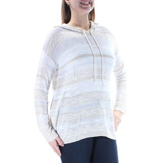 OH MG $24 Womens New 2699 Ivory Striped Hood Long Sleeve Sweater L Juniors B+B