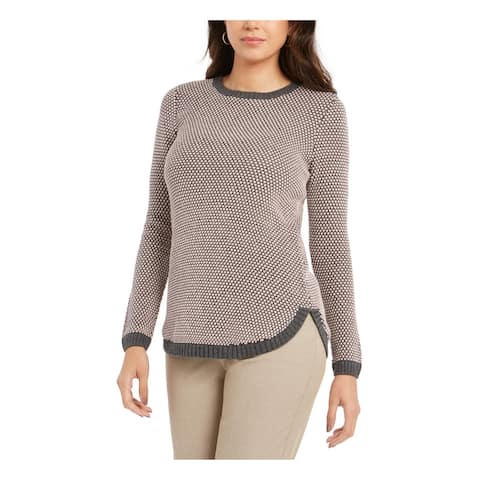 CHARTER CLUB Womens Gray Patterned Long Sleeve Sweater Size L