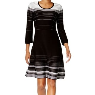 Nine West NEW Black Women's Size XL Striped Fit & Flare Sweater Dress