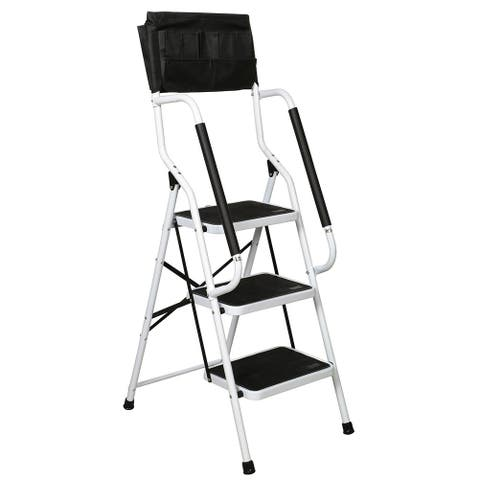 Folding 3-Step Safety Step Ladder - Padded Side Handrails - Attachable Tool Pouch Caddy - 19.5 in. x 26 in. x 54.75 in.