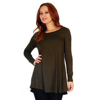 Simply Ravishing Women's Scoop Long Sleeve Pleated Flare Blouse Top Tunic Shirt (Size: S-5X)