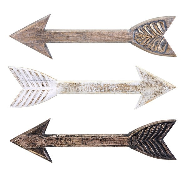 """Set of 3 Brown and Gray Distressed Finish Vintage-Inspired Wood Arrows 24"""" - N/A"""