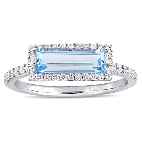 Miadora Sterling Silver Sky-Blue Topaz and White Sapphire Rectangular Halo Ring