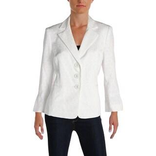 Le Suit Womens Seychelles Three-Button Blazer Jacquard Textured - 10