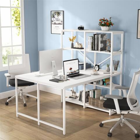 Double Computer Desks with Bookshelves, Dual Office Desk