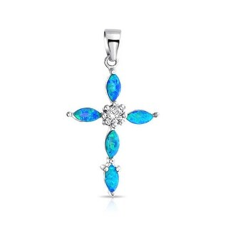 .925 Sterling Silver Synthetic Blue Opal Inlay Marquise Cross Pendant