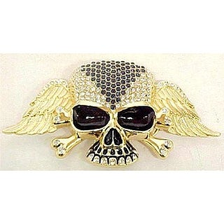 Blue / Clear Rhinestone Gold Winged Skull Belt Buckle