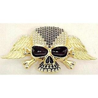 Blue / Clear Rhinestone Gold Winged Skull Belt Buckle