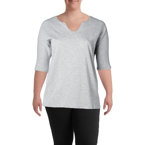 Marc New York Womens Plus Pullover Sweater Heathered V Neck - 1X