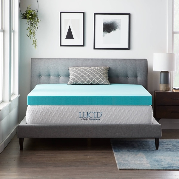 Lucid Comfort Collection 4 Inch Gel and Aloe Memory Foam Topper. Opens flyout.